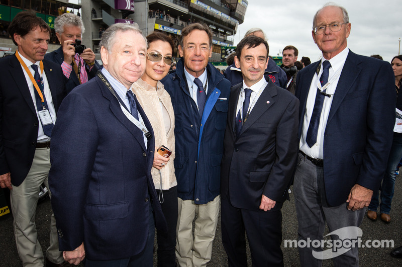 Jean Todt, wife Michelle Yeoh, ACO President François Fillon, and Jim France
