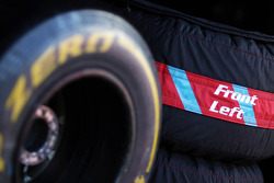 Front left tyre warmer blanket and a Pirelli tyre