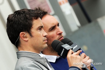 (L to R): Thomas Senecal, Canal+ F1 Chief Editor and TV Presenter with Franck Montagny, Canal+ TV Presenter