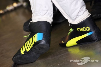 The Puma racing boots of Nico Rosberg, Mercedes AMG F1