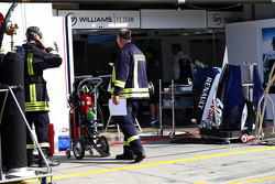 Firemen were called to the Williams garage after they suffered a KERS fire