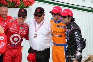 Race winner Scott Dixon, second place Charlie Kimball, third place Dario Franchitti with Chip Ganassi
