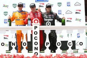 Race winner Scott Dixon, second place Charlie Kimball, third place Dario Franchitti