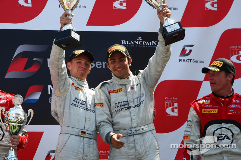 The podium: winners Maximilian Buhk, Alon Day, Mercedes SLS AMG GT3, HTP Gravity Charouz