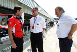 Dave O'Neill, Marussia F1 Team Manager with Jo Bauer, FIA Delegate