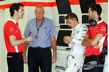 (L to R): Marc Hynes, Marussia F1 Team Driver Coach with John Booth, Marussia F1 Team Team Principal, Max Chilton, Marussia F1 Team MR02 and Sam Village, Marussia F1 Team