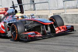 Oliver Turvey, McLaren McLaren  MP4-28 Test Driver running sensor equipment