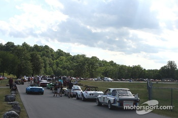 Race cars line up for the parade into Elkhart Lake.