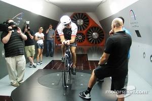 Josh Wise trains for a triathlon