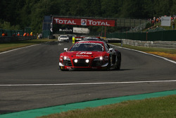 Pace lap; #2 Belgian Audi Club Team WRT Audi R8 LMS Ultra: André Lotterer, Christopher Mies, Frank Stippler