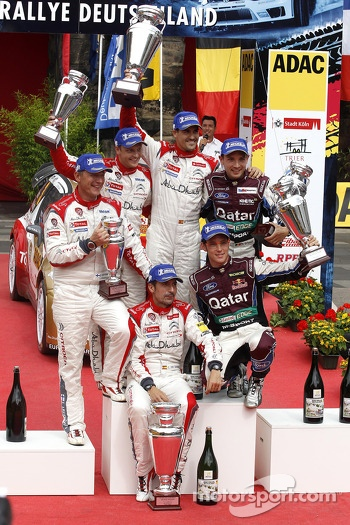 Podium, Mikko Hirvonen, Jarmo Lehtinen, Citroen DS3 WRC #2, Citroen Total Abu Dhabi World Rally Team