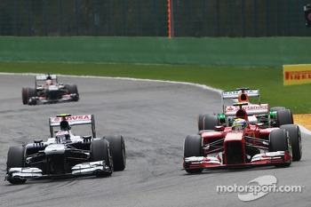 Valtteri Bottas, Williams and Felipe Massa, Ferrari battle for position