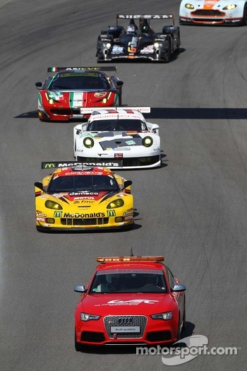 Patrick Bornhauser, Julien Canal, Fernando Rees, Chevrolet Corvette C6-ZR1 behind the Safety Car