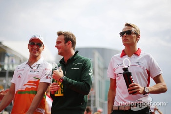 (L to R): Adrian Sutil, Sahara Force India F1, Giedo van der Garde, Caterham F1 Team and Max Chilton, Marussia F1 Team on the drivers parade