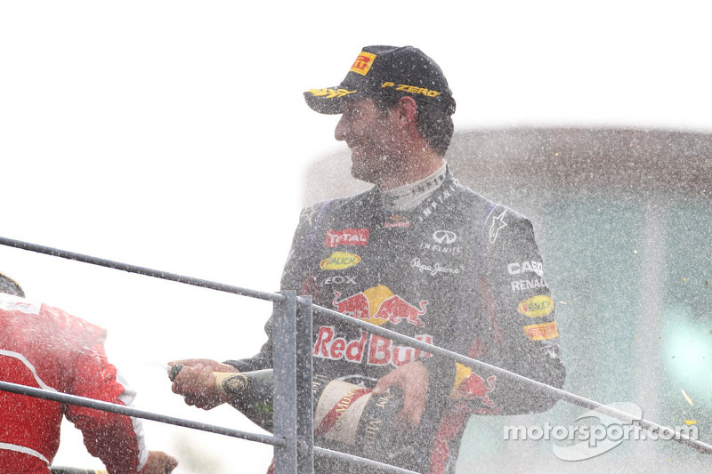 Mark Webber, Red Bull Racing celebrates his third position on the podium