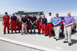 Kurt Busch visits with Kansas City Fire Department personnel