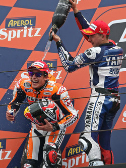 Second place Marc Marquez, race winner Jorge Lorenzo