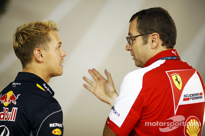 Sebastian Vettel, Red Bull Racing with Stefano Domenicali, Ferrari General Director