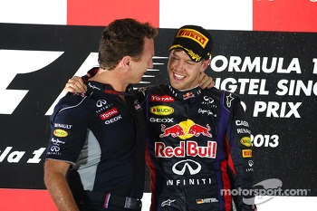 Christian Horner, Red Bull Racing Team Principal and Sebastian Vettel, Red Bull Racing