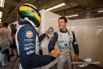 Pole winners Bruno Senna and Frédéric Makowiecki celebrate