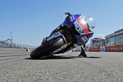 The Yamaha Factory Racing lean angle demonstration