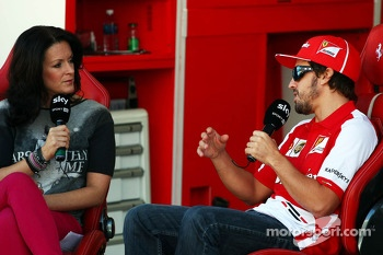 Fernando Alonso, Ferrari with Tanja Bauer, Sky Germany TV Presenter