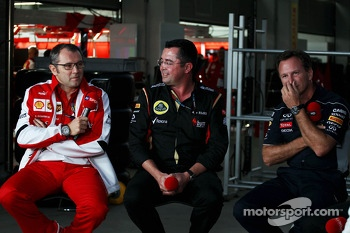 (L to R): Stefano Domenicali, Ferrari General Director with Eric Boullier, Lotus F1 Team Principal and Christian Horner, Red Bull Racing Team Principal