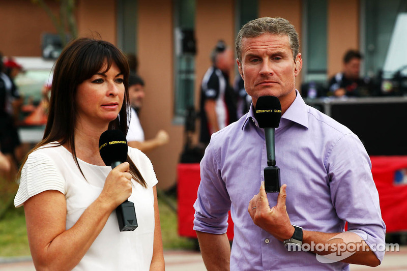 (L to R): Suzi Perry, BBC F1 Presenter with David Coulthard, Red Bull Racing and Scuderia Toro ...