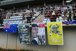 Banners for Mark Webber, Red Bull Racing in the grandstand