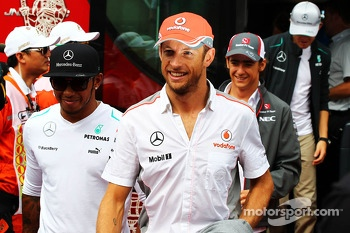 Jenson Button, McLaren and Lewis Hamilton, Mercedes AMG F1 on the drivers parade