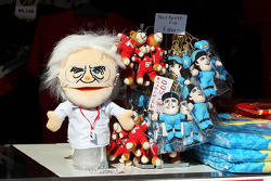 Bernie Ecclestone, CEO Formula One Group, glove puppet on a merchandise stand