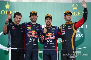 Race winner Sebastian Vettel, second place Mark Webber, third place Romain Grosjean