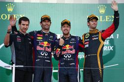 Race winner Sebastian Vettel, second place Mark Webber, third place Romain Grosjean