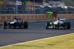 Jean-Eric Vergne, Scuderia Toro Rosso  and Adrian Sutil, Sahara Force India F1 Team