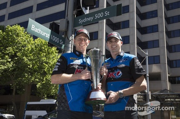 Mark Winterbottom and Steven Richards celebrate their Bathurst 1000 victory