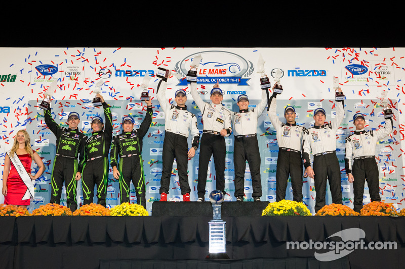 P2 podium: class winners Scott Tucker, Ryan Briscoe, Marino Franchitti, second place Scott Sharp, Anthony Lazzaro, David Brabham, third place Jonny Kane, Peter Dumbreck, Guy Cosmo