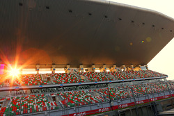 Circuit main start / finish grandstand as the sun sets