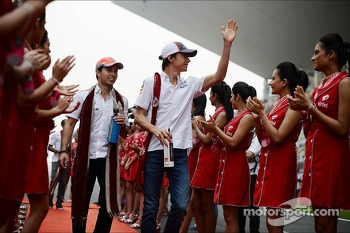 (L to R): Sergio Perez, McLaren and Esteban Gutierrez, Sauber on the drivers parade