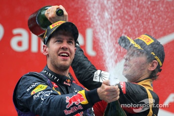Podium: race winner and 2013 world champion Sebastian Vettel, third place Romain Grosjean