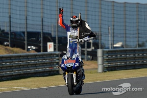 Yamaha Factory rider Jorge Lorenzo celebrates victory in Japan