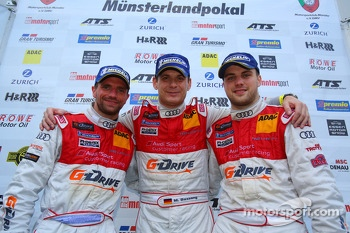 Winners overall Chris Mamerow, Marc Basseng, Laurens Vanthoor, Phoenix Racing, Audi R8 LMS ultra