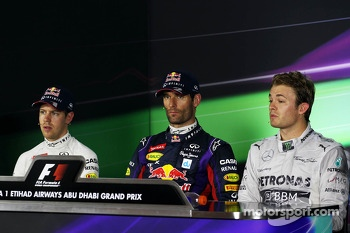 The FIA Press Conference for the qualifying top three: Sebastian Vettel, Red Bull Racing, second; Mark Webber, Red Bull Racing, pole position; Nico Rosberg, Mercedes AMG F1, third