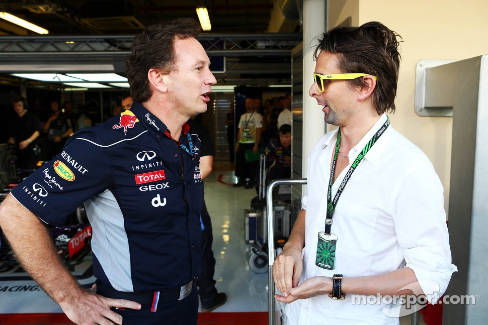 (L to R): Christian Horner, Red Bull Racing Team Principal with Matthew Bellamy, Muse