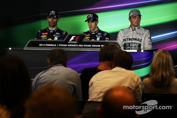 The post race FIA Press Conference: Mark Webber, Red Bull Racing, second; Sebastian Vettel, Red Bull Racing, race winner; Nico Rosberg, Mercedes AMG F1, third