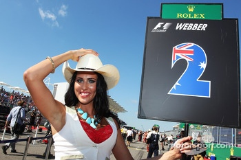 Grid girl for Mark Webber, Red Bull Racing