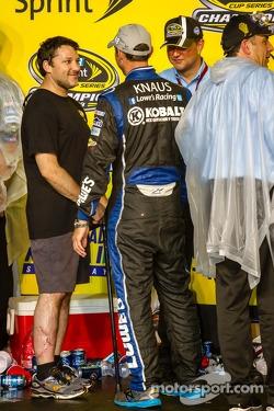 Championship victory lane: Tony Stewart congratulates Chad Knaus