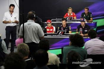 The FIA Press Conference: Max Chilton, Marussia F1 Team; Giedo van der Garde, Caterham F1 Team; Felipe Massa, Ferrari; Mark Webber, Red Bull Racing; Jean-Eric Vergne, Scuderia Toro Rosso