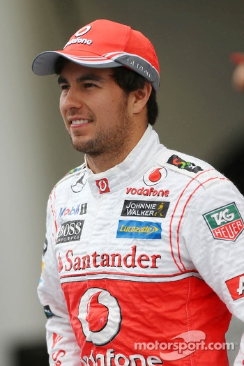 Sergio Perez, McLaren at a team photograph