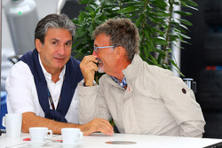 (L to R): Pasquale Lattuneddu, of the FOM with Eddie Jordan, BBC Television Pundit