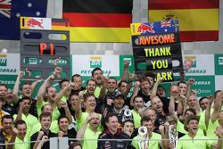 Race winner Sebastian Vettel, Red Bull Racing his team mate Mark Webber, Red Bull Racing RB9, celebrating his final GP with the team